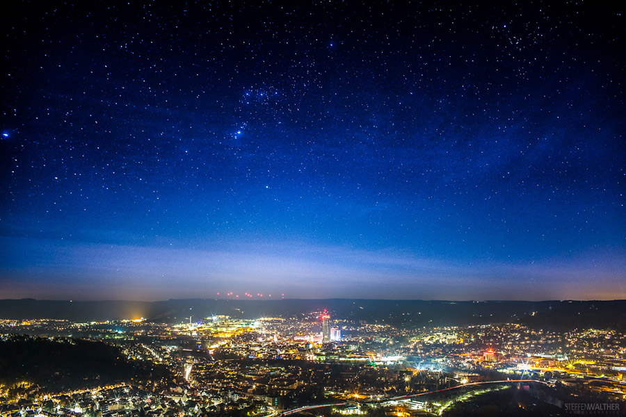 Jena, Nachtaufnahme, Sternenhimmel, Stadtzentrum, Thüringen. Fotograf Jena, Steffen Walther
